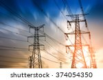 high voltage post.high voltage... | Shutterstock . vector #374054350