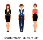 set of women in office clothes. ... | Shutterstock .eps vector #374075284