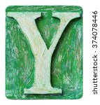 Wooden Alphabet Block  Letter Y