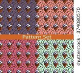set of patterns with ice cream  | Shutterstock .eps vector #374080570