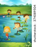 children stepping on lotus... | Shutterstock .eps vector #374089504