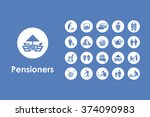 set of pensioners simple icons | Shutterstock .eps vector #374090983