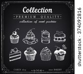 set of hand drawn sweet... | Shutterstock .eps vector #374092816