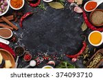 herbs  condiments and spices on ... | Shutterstock . vector #374093710