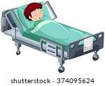 boy being sick in hospital bed... | Shutterstock .eps vector #374095624