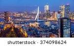 rotterdam skyline with erasmus... | Shutterstock . vector #374098624