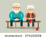 grandpa and grandma sitting on... | Shutterstock .eps vector #374103058