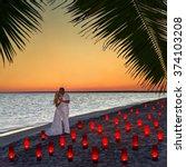 loving couple at tropical ocean ... | Shutterstock . vector #374103208