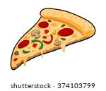 a slice of pizza  a hand drawn...