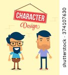 two man character design.... | Shutterstock .eps vector #374107630