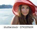 beautiful girl  business woman  ... | Shutterstock . vector #374109604