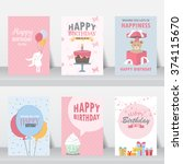 birthday  holiday  christmas... | Shutterstock .eps vector #374115670