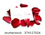 valentine's day card with petal | Shutterstock . vector #374117026