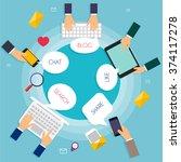 social network vector concept.... | Shutterstock .eps vector #374117278