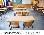 empty class room of elementary... | Shutterstock . vector #374124190