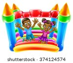 a young black boy and girl... | Shutterstock .eps vector #374124574