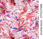 seamless tropical pattern.... | Shutterstock . vector #374127688