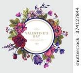 valentine's frame with vintage... | Shutterstock .eps vector #374127844