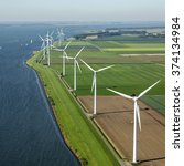 Small photo of Aerial view of offshore wind turbine farm in along the Volkerak, The Netherlands.