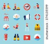 Lifeguard Flat Icons Set With...