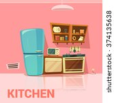 kitchen retro design with... | Shutterstock .eps vector #374135638