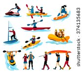 extreme water sports flat color ...   Shutterstock .eps vector #374135683