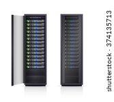 two black adjustable computer... | Shutterstock .eps vector #374135713