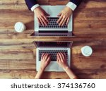man and woman working on their... | Shutterstock . vector #374136760