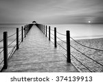 Sunset Jetty In Black And White.