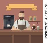 hipster barista. vector retro... | Shutterstock .eps vector #374144020
