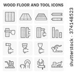 wood floor and tool vector icon ...