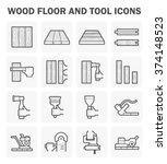wood floor and tool vector icon ... | Shutterstock .eps vector #374148523