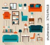 set of elements for living room....   Shutterstock .eps vector #374149618