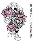 hand drawn romantic beautiful...   Shutterstock .eps vector #374150950
