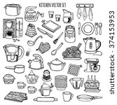 kitchen utensils and appliance... | Shutterstock .eps vector #374153953