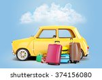3d cartoon car and luggage ... | Shutterstock . vector #374156080