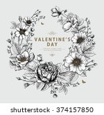 valentine's vector card with... | Shutterstock .eps vector #374157850
