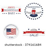 presidents day icon and sticker ... | Shutterstock .eps vector #374161684