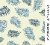 palm leaf vector seamless... | Shutterstock .eps vector #374163736