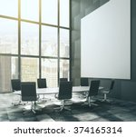 dark meeting room with blank... | Shutterstock . vector #374165314