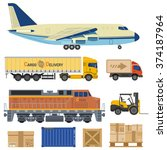 cargo transport and packaging... | Shutterstock .eps vector #374187964