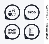 byod icons. human with notebook ... | Shutterstock .eps vector #374189293