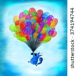 A Happy Blue Cat Flying  In Th...