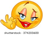 female emoticon showing ok sign | Shutterstock .eps vector #374203600