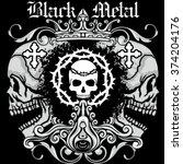 grunge skull coat of arms | Shutterstock .eps vector #374204176