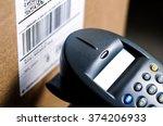 barcode reader scanning a upc...