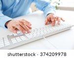 male hands or men office worker ... | Shutterstock . vector #374209978