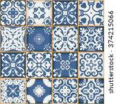 floral patchwork tile design.... | Shutterstock . vector #374215066