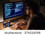 thoughtful young programmer... | Shutterstock . vector #374226598