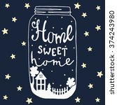 jar with text and house  yard ... | Shutterstock .eps vector #374243980